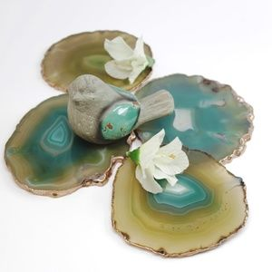 ROSE GOLD - GREEN AGATE STONE - COASTER SET OF 4